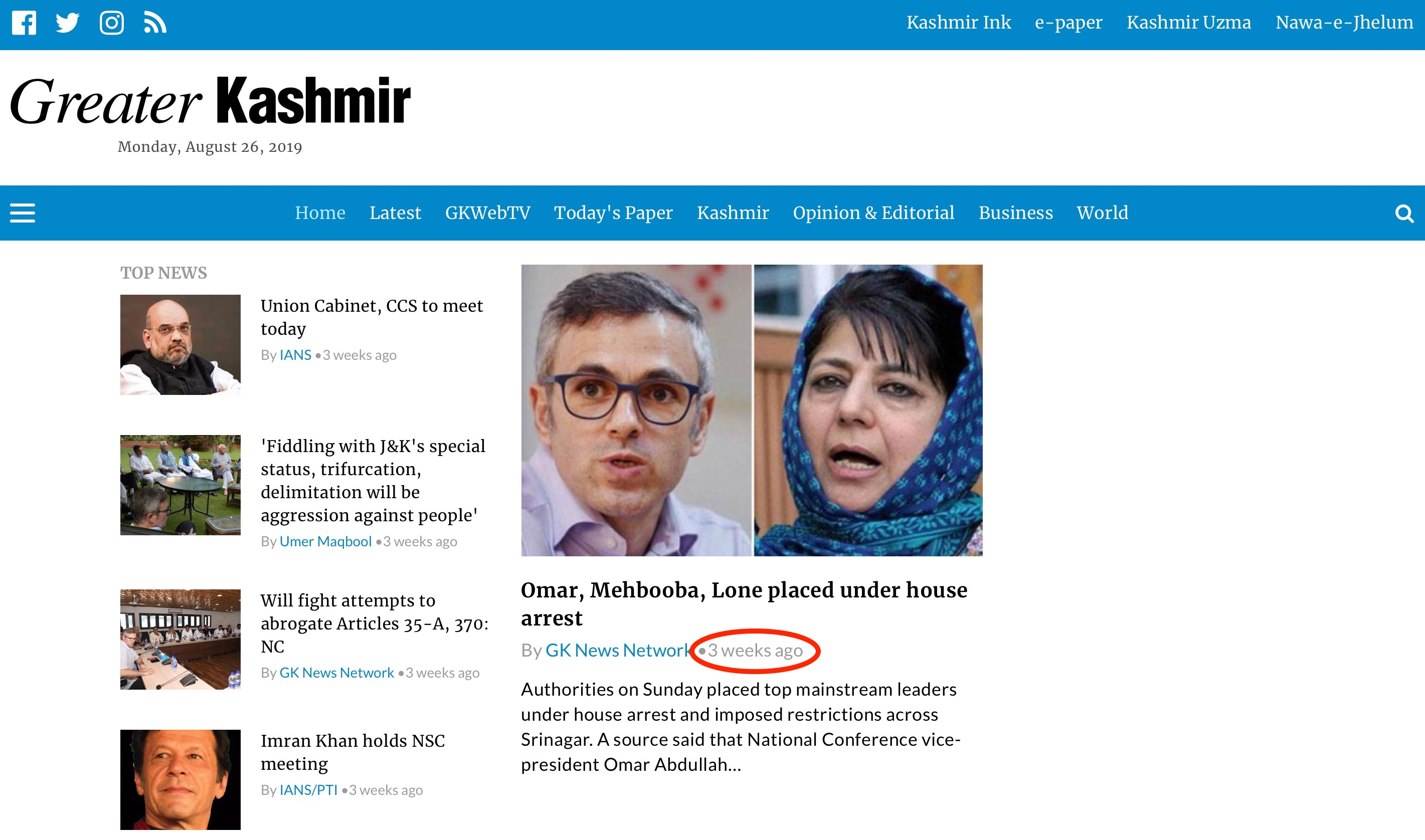 Greater Kashmir home page with their last updates from 3 weeks ago