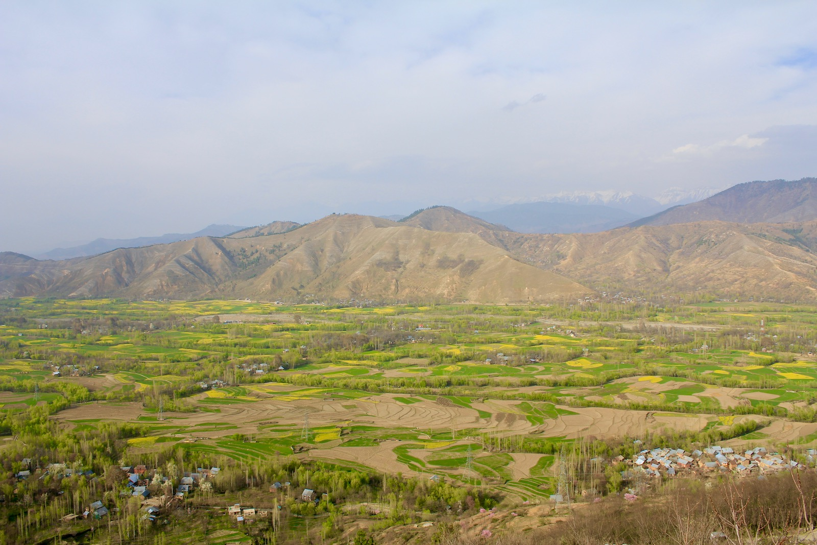 First view into the Kashmir Valley in spring after passing through the Banihal tunnel on the national highway
